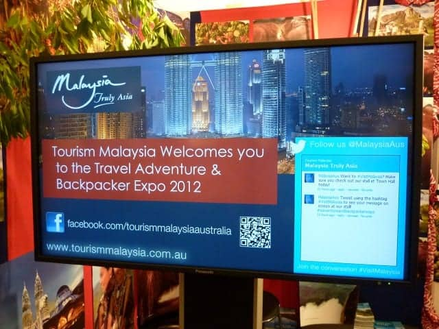 Tourism Malaysia Backpacker Expo 2012 digital signage social media