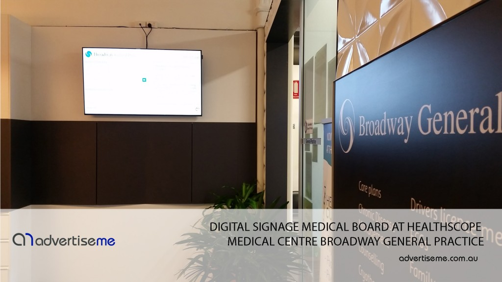 DIGITAL SIGNAGE MEDICAL BOARD AT HEALTHSCOPE MEDICAL CENTRE BROADWAY GENERAL PRACTICE 2
