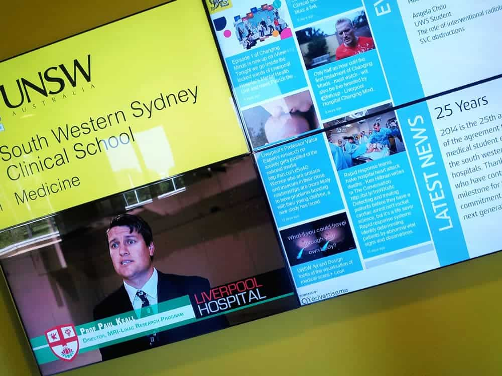 Video Wall at UNSW displaying multiple content