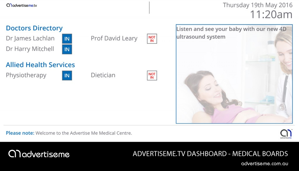 Advertise Me TV Medical Board Dashboard